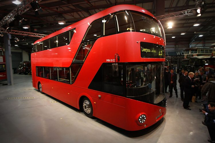 LONDON, ENGLAND - NOVEMBER 11:  A mock up of the New Bus for London is shown to reporters at  Acton on November 11, 2010 in London, England. The new bus design mimics some of the features of the iconic red London Routemaster bus and is scheduled to come into service in 2012. The original Routemaster was introduced in 1956 and a number of them are still in use on heritage routes in London, following their withdrawal from regular routes in 2005.  (Photo by Peter Macdiarmid/Getty Images)