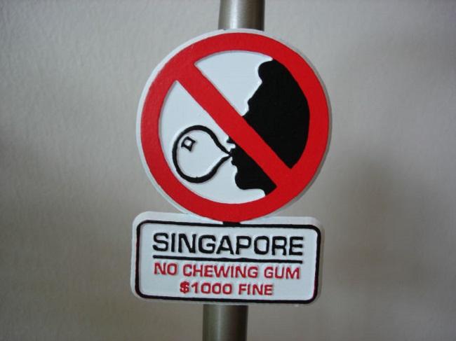 В Сингапуре запрещается продавать жвачку