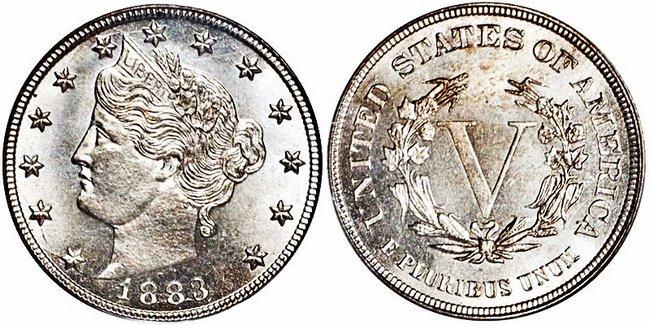 Пятицентовик Liberty Head V 1883 года