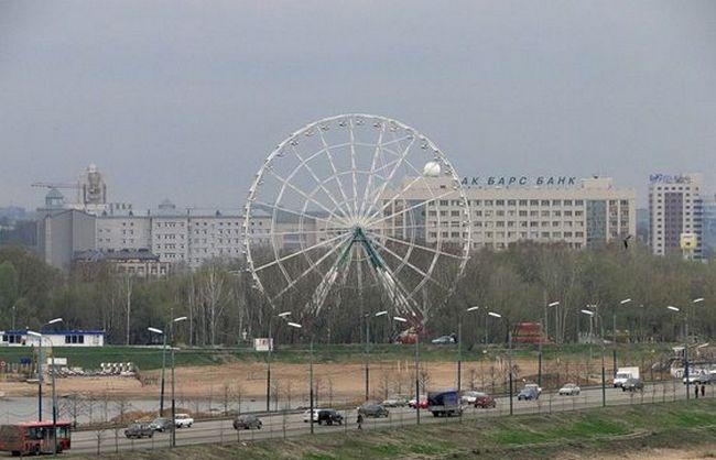 55-метровое «чертово колесо» находится в парке «Кырлай» в Казани