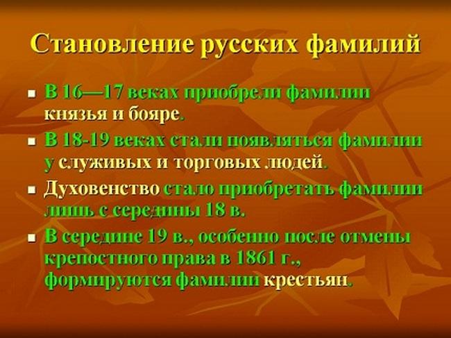 Становление русских фамилий