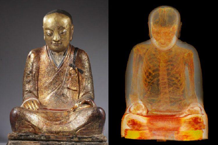 Мумия внутри статуи Будды