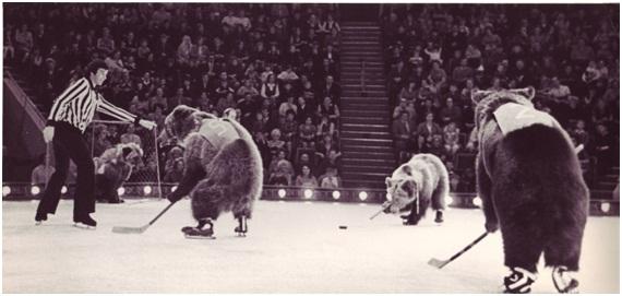 Благодаря фантазии и режиссерскому мастерству Арнольда Арнольда артисты цирка встали на коньки, а медведи даже начали играть в хоккей