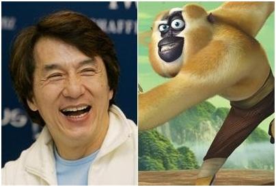 Джеки Чан озвучивает мастера Обезьяну в мультфильме «Кунг-фу Панда»