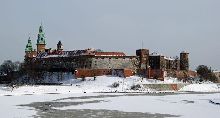 Польский город Краков зимой