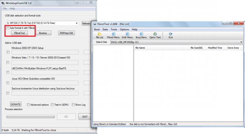Использование программы WinSetupFromUSB