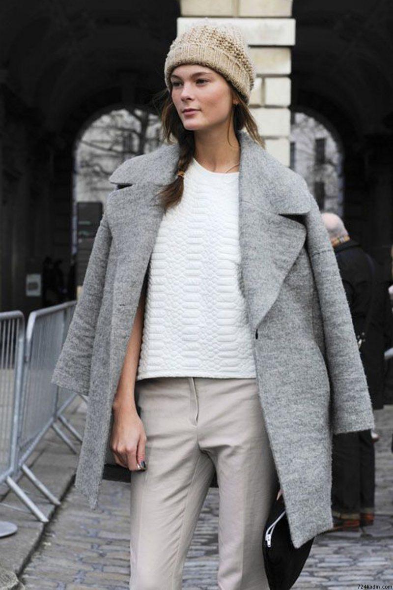 Серое пальто - классика осенней моды