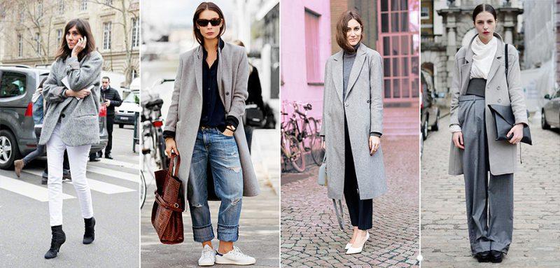 Что носить с серым пальто