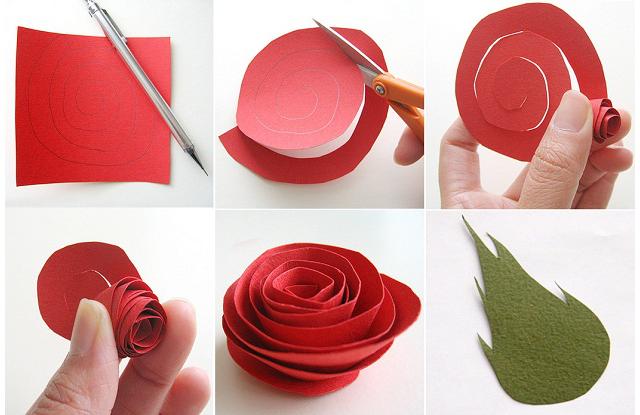роза из бумаги легко