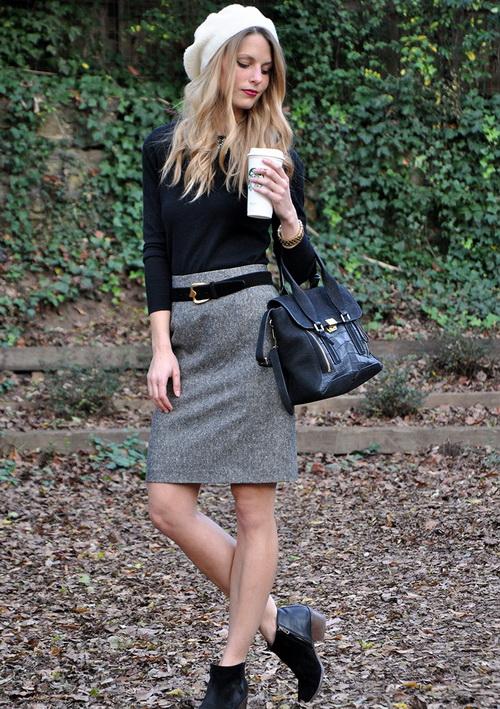 черный свитер серая юбка