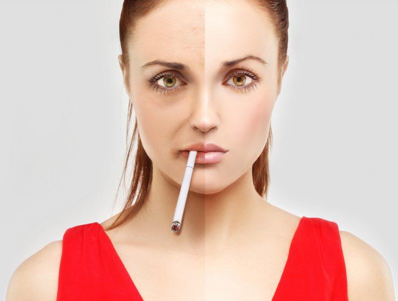Пациент до и после курения.
