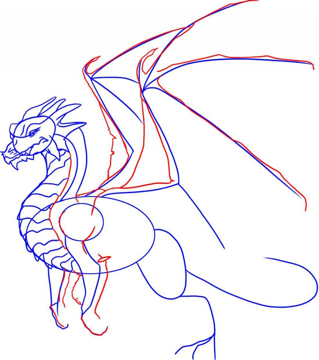 Картинки как поэтапно нарисовать дракона