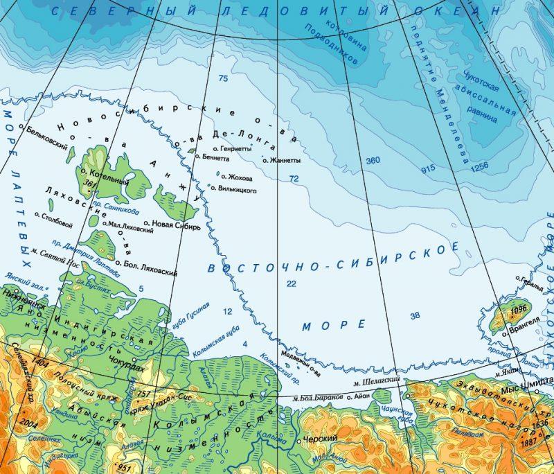 Восточно-Сибирское море на карте