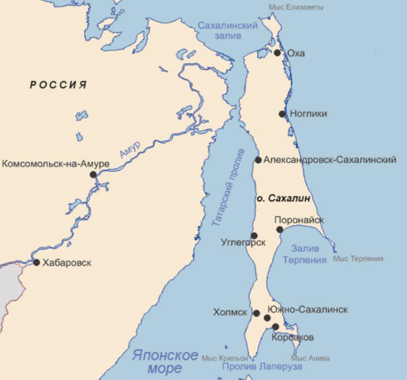 Остров Сахалин, географическое положение