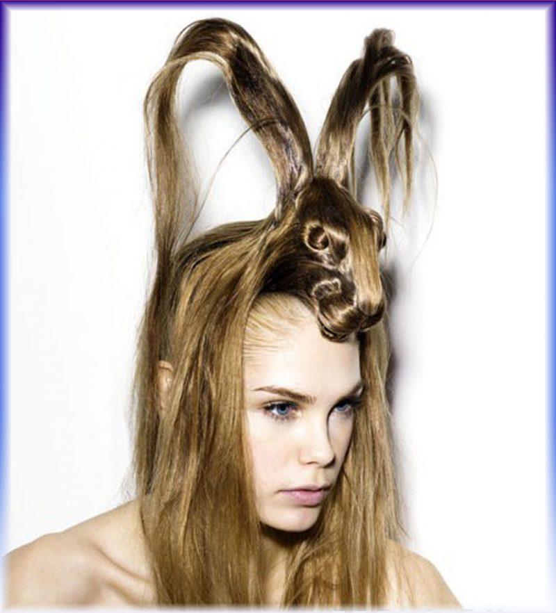Укладка волос в форме зайца