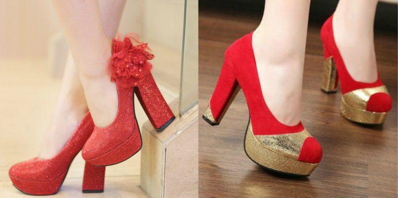 красивые туфли с толстым каблуком