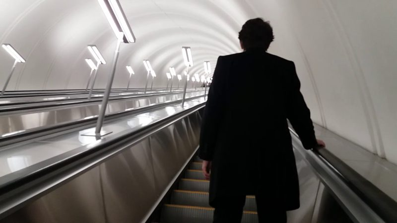 "Эскалатор на станции метро ""Парк Победы"""