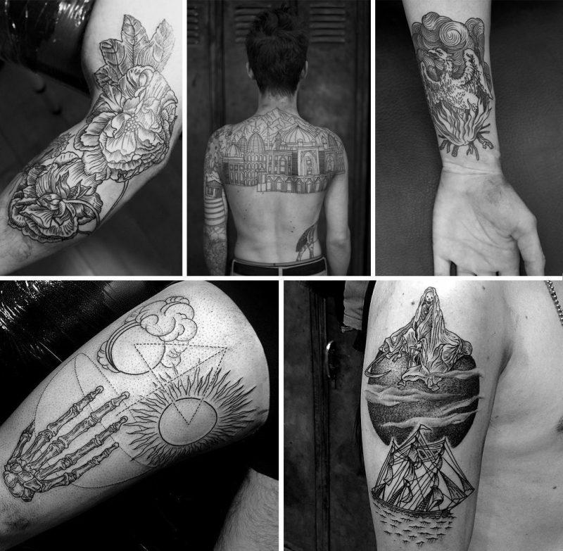 Красивые татуировки в гравюрном стиле
