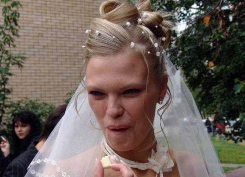 неудачная свадебная прическа